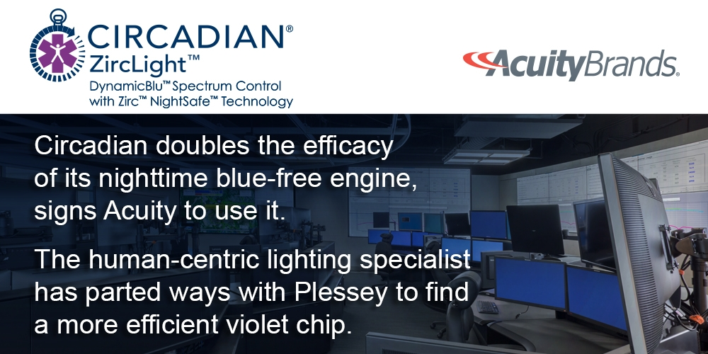 Circadian doubles the efficacy of its nighttime blue-free engine, signs Acuity to use it